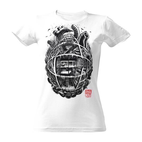 Tričko s potiskem Industriální srdce - dámské triko bílé volné  6aa68fd241