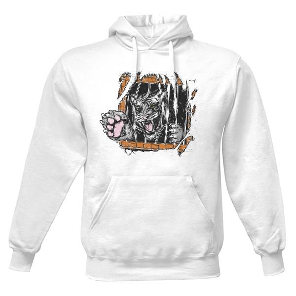 Pánská mikina s kapucí s potiskem Vnitřní šelma bílá  76fb4e7ffb