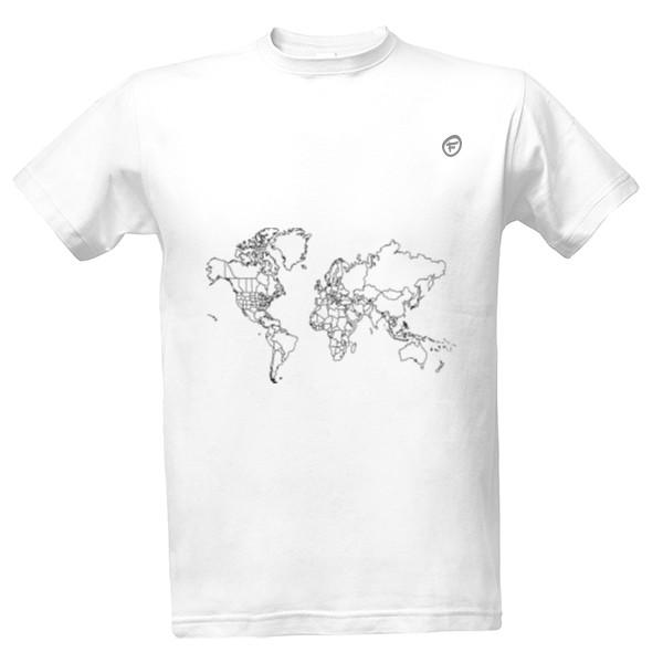 Tričko s potiskem cestovatelova mapa vč. USA  210e05853d