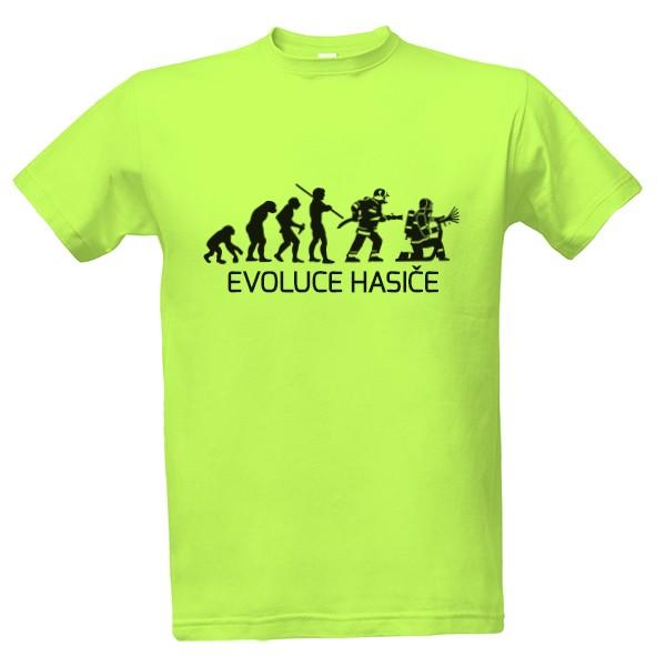 Tričko s potiskem Evoluce hasiče s textem  c655b6b3be