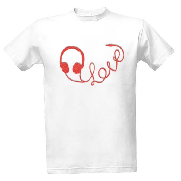 f4b582817382 Tričko s potiskem Červená sluchátka I LOVE