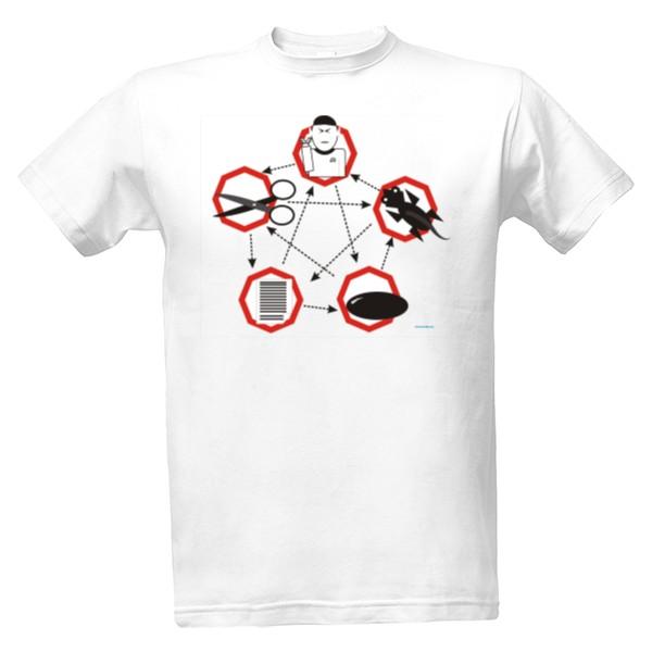 tričko s potiskem Kámen - nůžky pánské