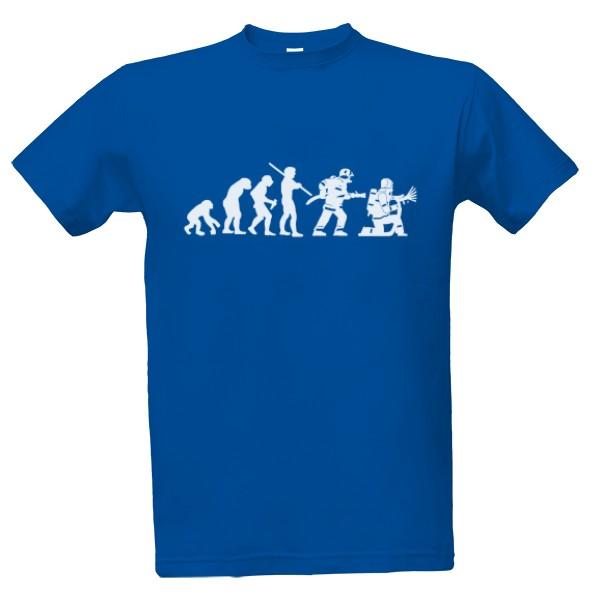 Tričko s potiskem Evoluce hasiče  0d9f39698b