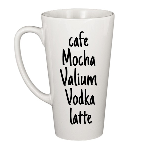 hrnek latté s potiskem cafe mocha valium vodka latte