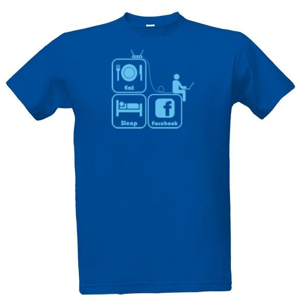 tričko s potiskem Eat, sleep, Facebook pánské