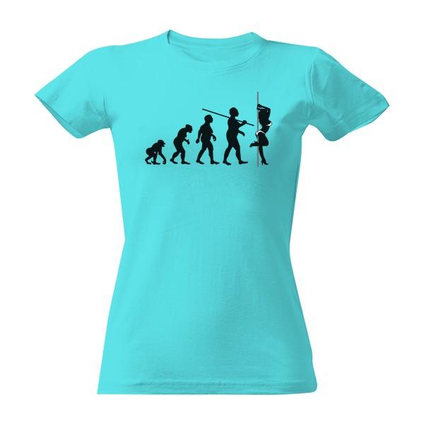 T-shock tričko s potiskem Evoluce Pole tanečnice dámské Atoll blue S