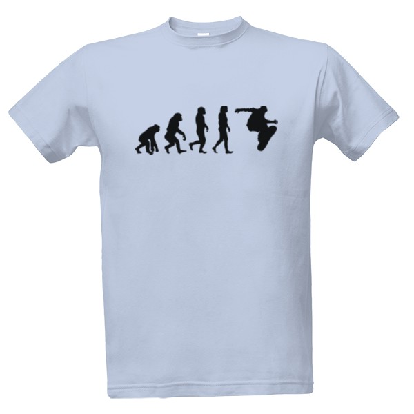 T-shock tričko s potiskem Evoluce snowboard pánské Nebesky modrá S