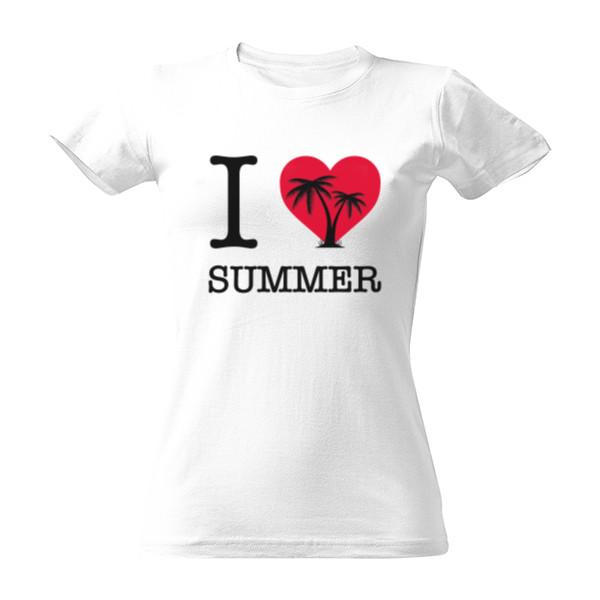 6e7d6fe7162a T-shock tričko s potiskem I love summer dámské Bílá S