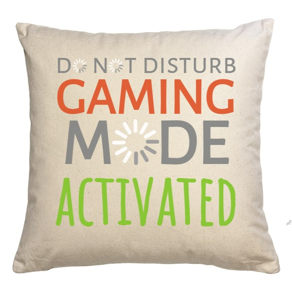 Polštář bílý s potiskem do not disturb gaming mode activated