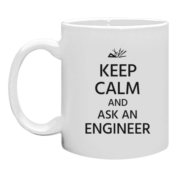 Hrnek malý bílý s potiskem Keep calm and ask an ENGINEER - hrnek