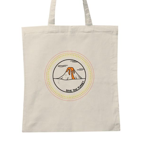0d5b1291f8 Nákupná taška s potlačou Save this planet - volcano