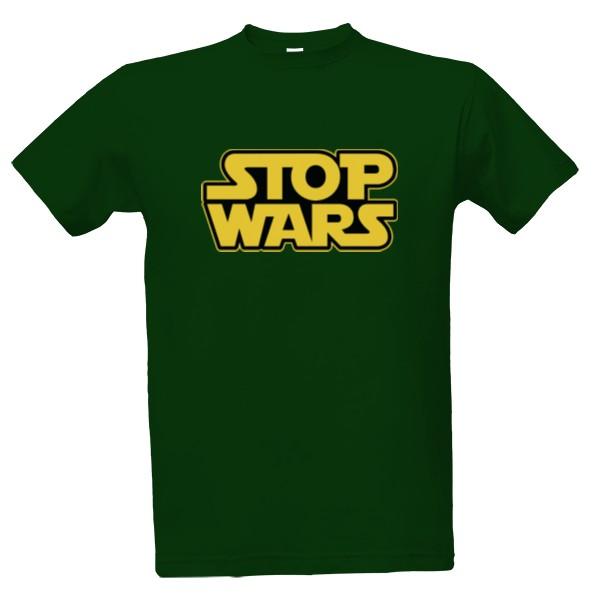 T-shock tričko s potiskem Stop wars pánské Lahvově zelená S