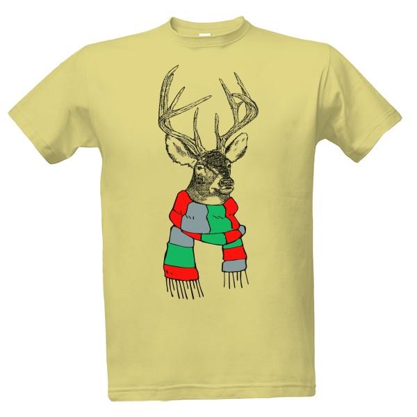 af3c652701c T-shock tričko s potiskem Vánoční jelen pánské Písková M